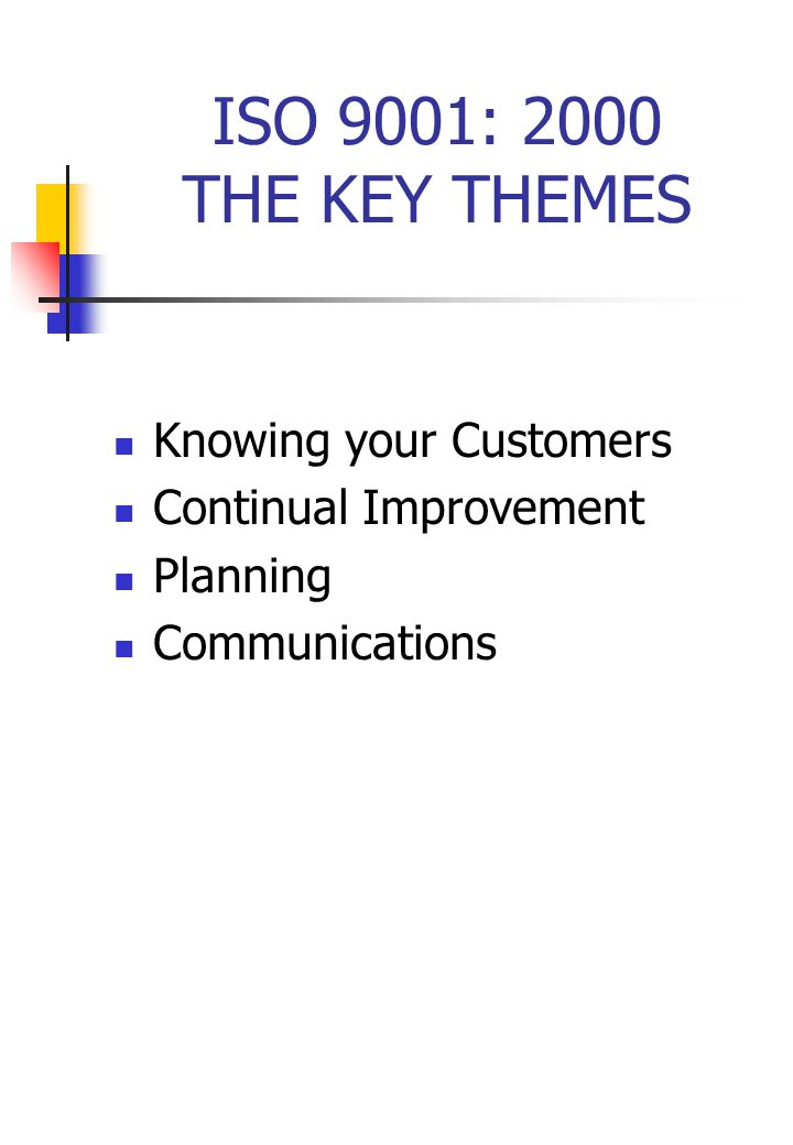 ISO 9001: 2000 THE KEY THEMES Knowing your Customers Continual Improvement Planning Communications