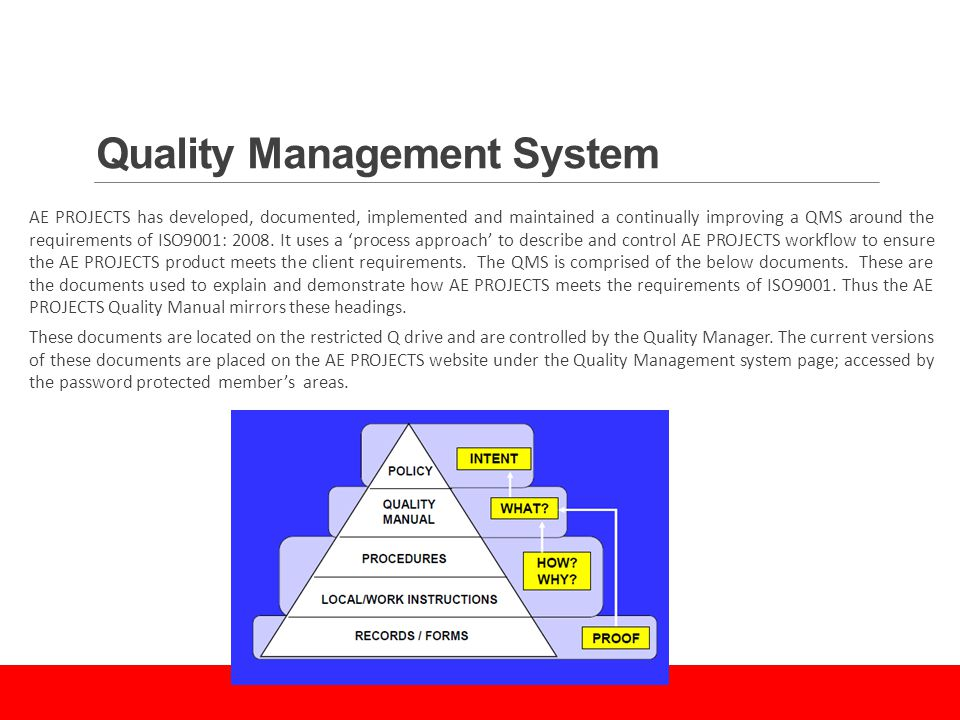 Quality Management System AE PROJECTS has developed, documented, implemented and maintained a continually improving a QMS around the requirements of ISO9001: 2008.