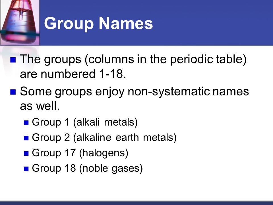 Periodic table periodic table group name periodic table of group table names images periodic urtaz Gallery