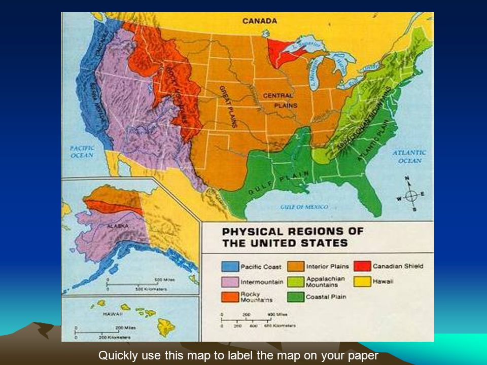 physical regions of the u s quickly use this map to label the map on your paper