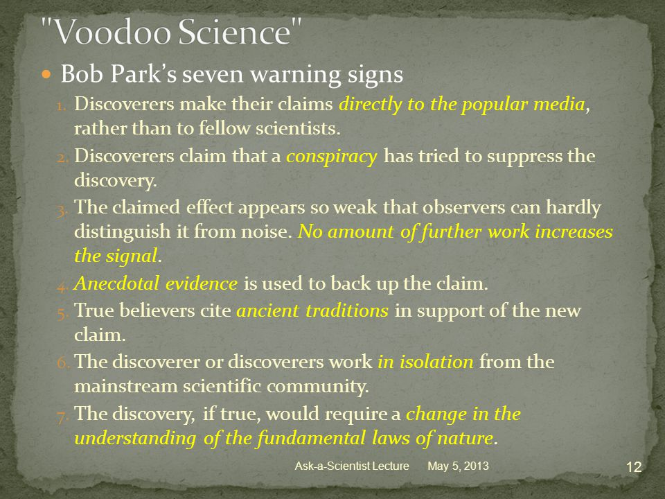 Bob Park's seven warning signs 1.