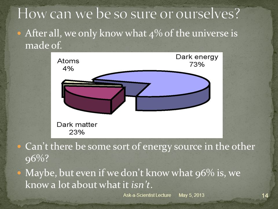 After all, we only know what 4% of the universe is made of.