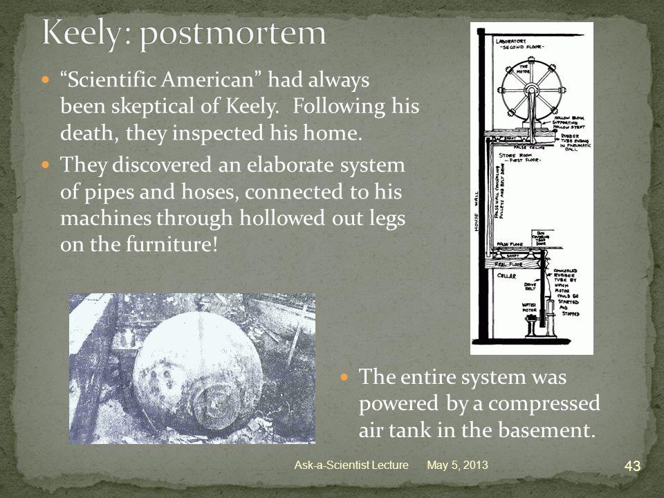 Scientific American had always been skeptical of Keely.
