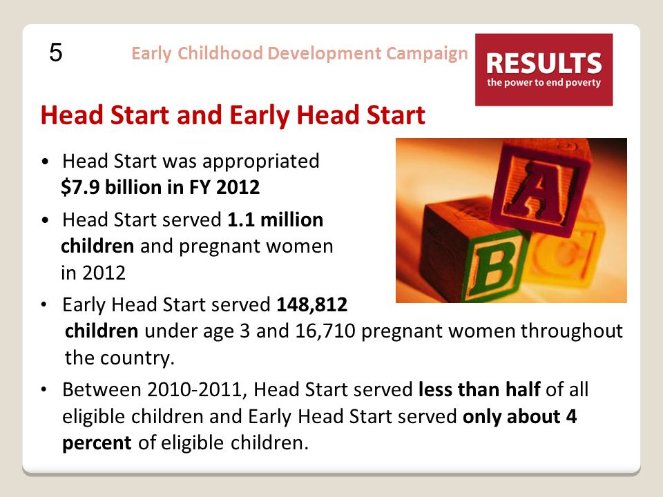 5 Early Childhood Development Campaign Head Start and Early Head Start Head Start was appropriated $7.9 billion in FY 2012 Head Start served 1.1 million children and pregnant women in 2012 Early Head Start served 148,812 children under age 3 and 16,710 pregnant women throughout the country.