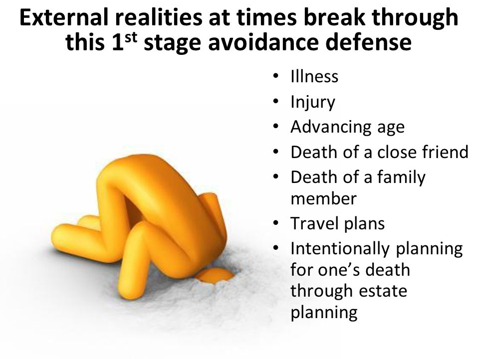 External realities at times break through this 1 st stage avoidance defense Illness Injury Advancing age Death of a close friend Death of a family member Travel plans Intentionally planning for one's death through estate planning