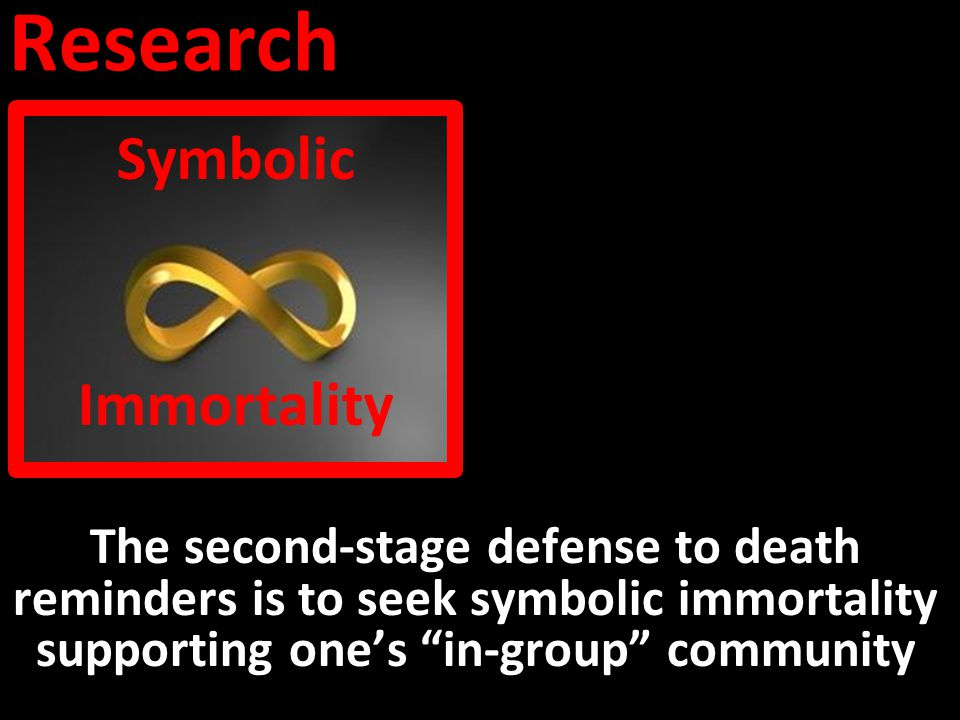 Research The second-stage defense to death reminders is to seek symbolic immortality supporting one's in-group community Symbolic Immortality