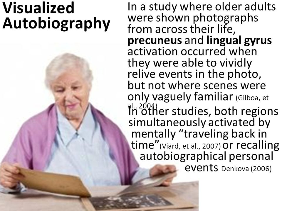In a study where older adults were shown photographs from across their life, precuneus and lingual gyrus activation occurred when they were able to vividly relive events in the photo, but not where scenes were only vaguely familiar (Gilboa, et al., 2004) Visualized Autobiography In other studies, both regions simultaneously activated by mentally traveling back in time (Viard, et al., 2007) or recalling autobiographical personal events Denkova (2006)