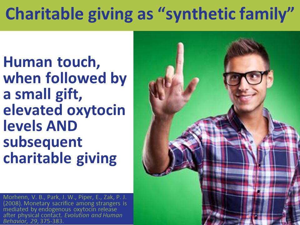 Human touch, when followed by a small gift, elevated oxytocin levels AND subsequent charitable giving Morhenn, V.