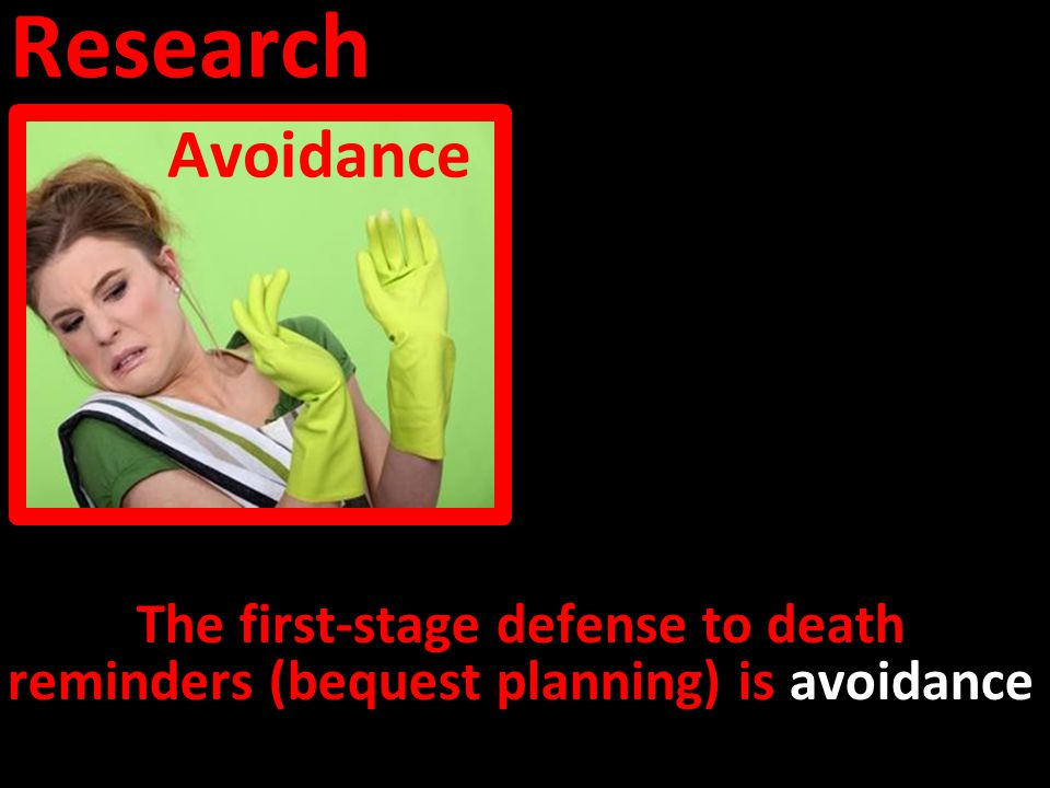 Research Avoidance The first-stage defense to death reminders (bequest planning) is avoidance