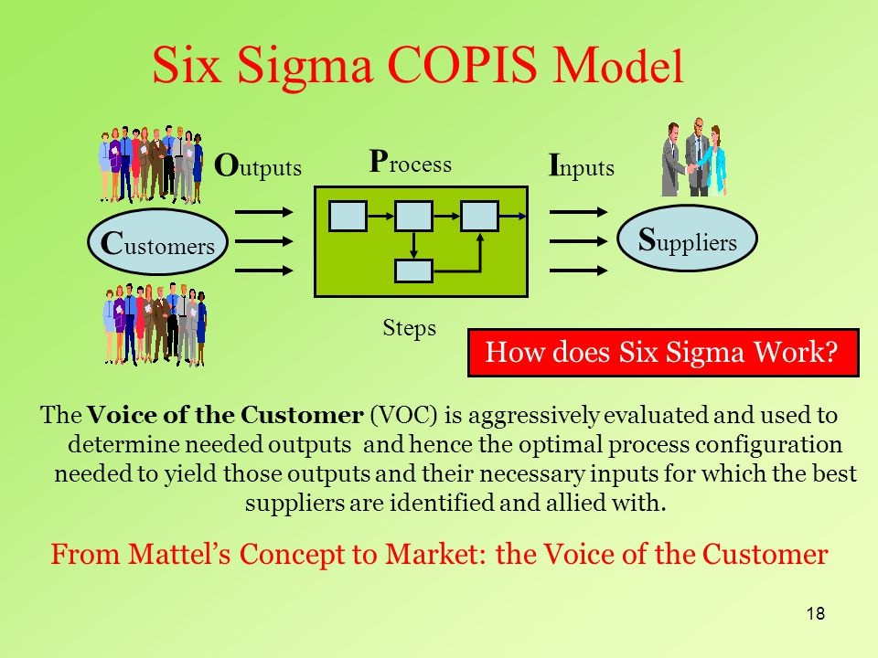 18 Six Sigma COPIS M odel The Voice of the Customer (VOC) is aggressively evaluated and used to determine needed outputs and hence the optimal process configuration needed to yield those outputs and their necessary inputs for which the best suppliers are identified and allied with.