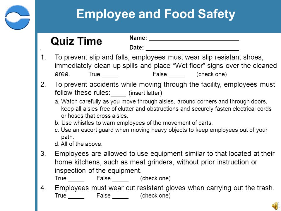 food safety quiz questions and answers