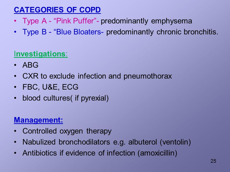 CATEGORIES OF COPD Type A - Pink Puffer - predominantly emphysema Type B - Blue Bloaters- predominantly chronic bronchitis.