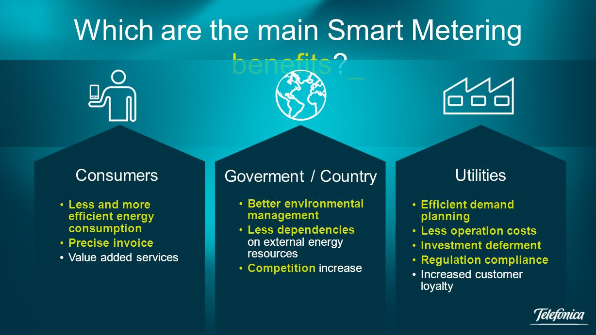 Which are the main Smart Metering benefits _ Consumers Goverment / Country Less and more efficient energy consumption Precise invoice Value added services Utilities Efficient demand planning Less operation costs Investment deferment Regulation compliance Increased customer loyalty Better environmental management Less dependencies on external energy resources Competition increase