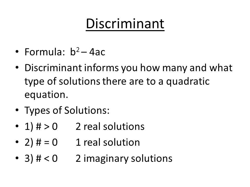 Form of quadratic equations, discriminant formula, Vieta's formulas