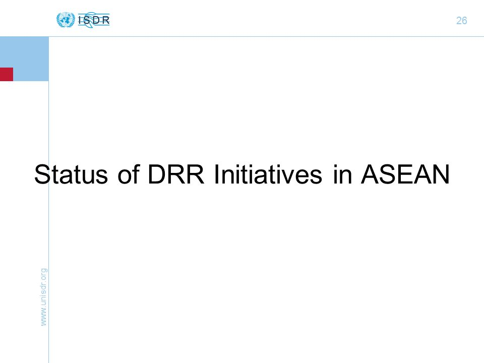 26 Status of DRR Initiatives in ASEAN