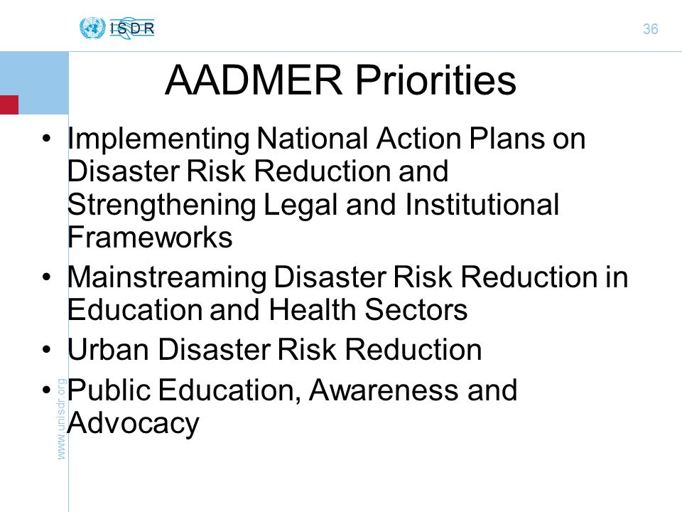 36 AADMER Priorities Implementing National Action Plans on Disaster Risk Reduction and Strengthening Legal and Institutional Frameworks Mainstreaming Disaster Risk Reduction in Education and Health Sectors Urban Disaster Risk Reduction Public Education, Awareness and Advocacy