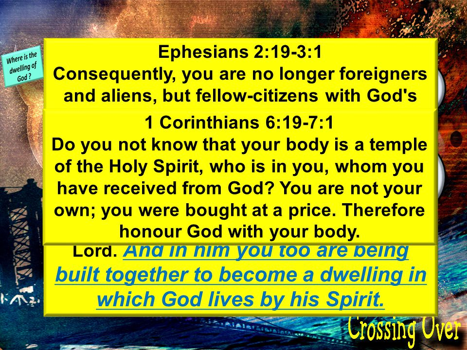 and The Church The Christian The dwelling carries the presence of God Ephesians 2:19-3:1 Consequently, you are no longer foreigners and aliens, but fellow-citizens with God s people and members of God s household, built on the foundation of the apostles and prophets, with Christ Jesus himself as the chief cornerstone.