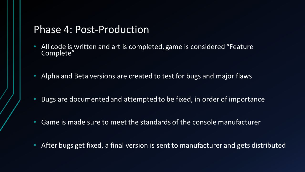Phase 4: Post-Production All code is written and art is completed, game is considered Feature Complete Alpha and Beta versions are created to test for bugs and major flaws Bugs are documented and attempted to be fixed, in order of importance Game is made sure to meet the standards of the console manufacturer After bugs get fixed, a final version is sent to manufacturer and gets distributed