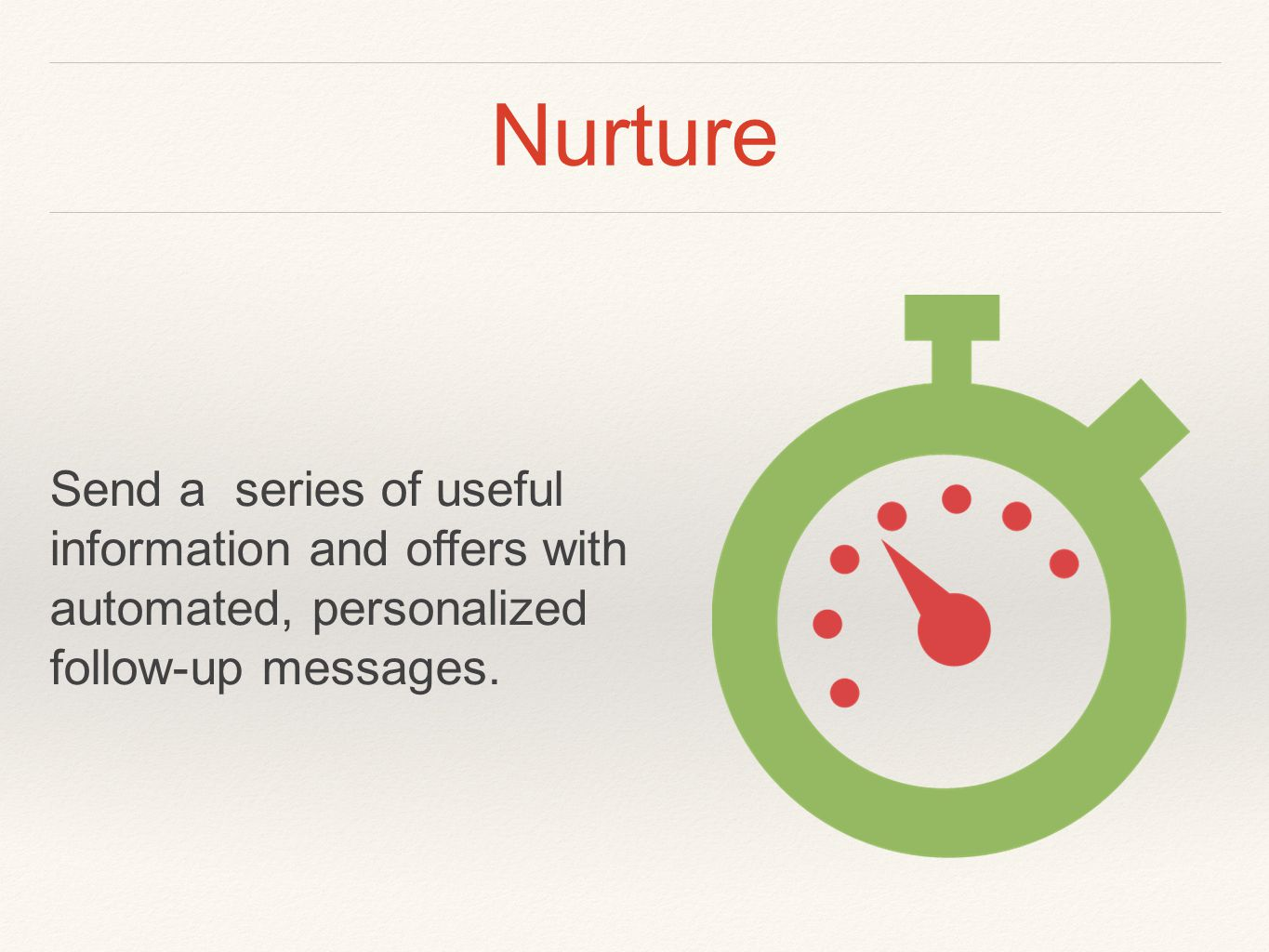 Nurture Send a series of useful information and offers with automated, personalized follow-up messages.