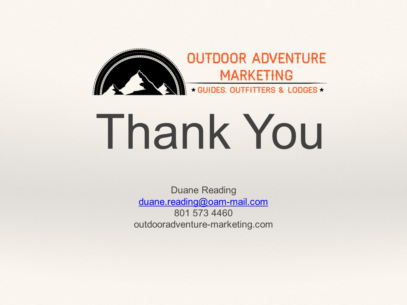 Thank You Duane Reading outdooradventure-marketing.com