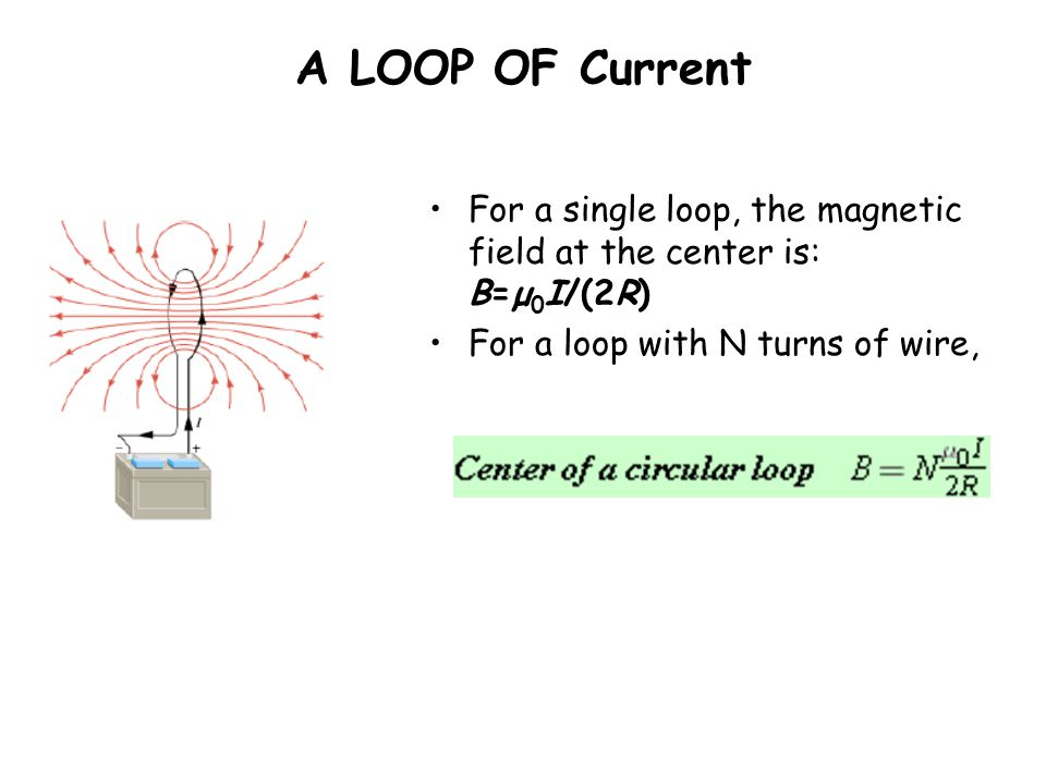 A LOOP OF Current For a single loop, the magnetic field at the center is: B=μ 0 I/(2R) For a loop with N turns of wire,