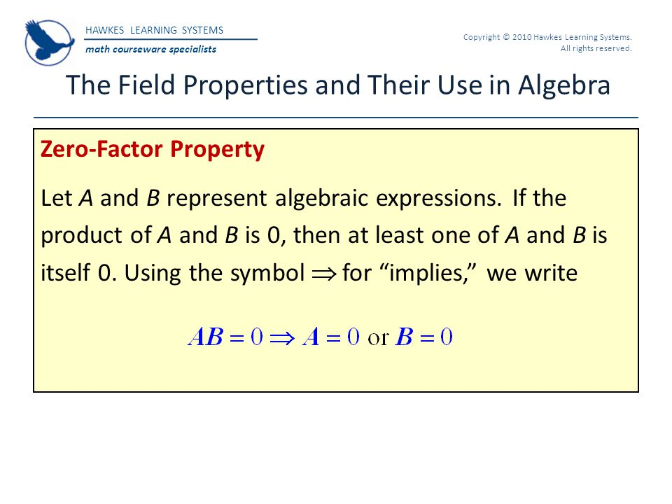 Hawkes Learning Systems Math Courseware Specialists Copyright 2010