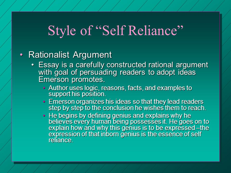 who wrote the essay self reliance In his essay 'self-reliance' emerson wrote, 'whoso would be a man must be a nonconformist' the apostle paul reminds us - martin luther king, jr.