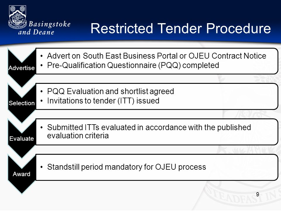 Restricted Tender Procedure Advertise Advert on South East Business Portal or OJEU Contract Notice Pre-Qualification Questionnaire (PQQ) completed Selection PQQ Evaluation and shortlist agreed Invitations to tender (ITT) issued Evaluate Submitted ITTs evaluated in accordance with the published evaluation criteria Award Standstill period mandatory for OJEU process 9