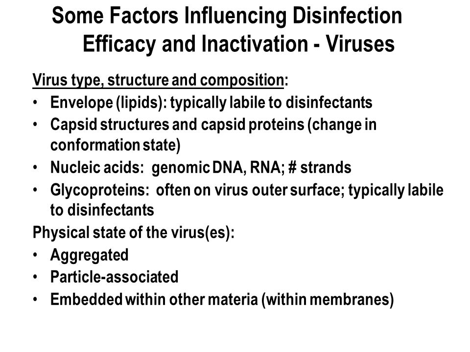 Some Factors Influencing Disinfection Efficacy and Inactivation - Viruses Virus type, structure and composition: Envelope (lipids): typically labile to disinfectants Capsid structures and capsid proteins (change in conformation state) Nucleic acids: genomic DNA, RNA; # strands Glycoproteins: often on virus outer surface; typically labile to disinfectants Physical state of the virus(es): Aggregated Particle-associated Embedded within other materia (within membranes)