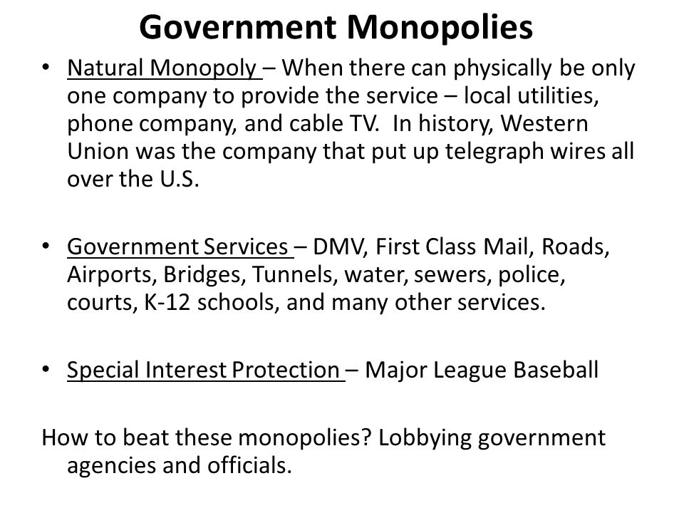 natural monopoly should treat telephone cable and broadcasting companies as natural monopolies A natural monopoly is a monopoly that for companies that are clearly monopolies with natural monopolies, and thus they should be taken into.