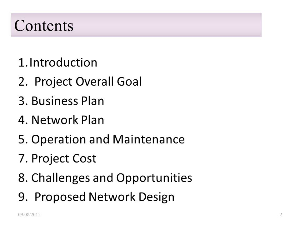 1.Introduction 2. Project Overall Goal 3. Business Plan 4.