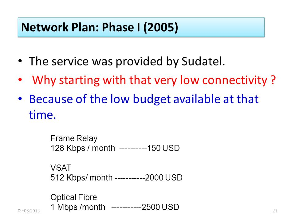 The service was provided by Sudatel. Why starting with that very low connectivity .