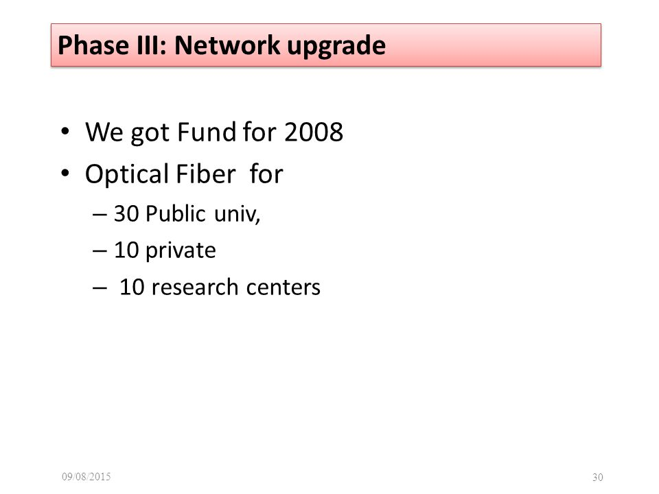 We got Fund for 2008 Optical Fiber for – 30 Public univ, – 10 private – 10 research centers 09/08/ Phase III: Network upgrade
