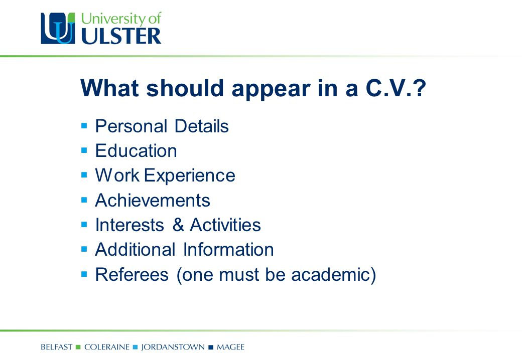 Developing your employability skills career development centre what should appear in a cv yelopaper Images