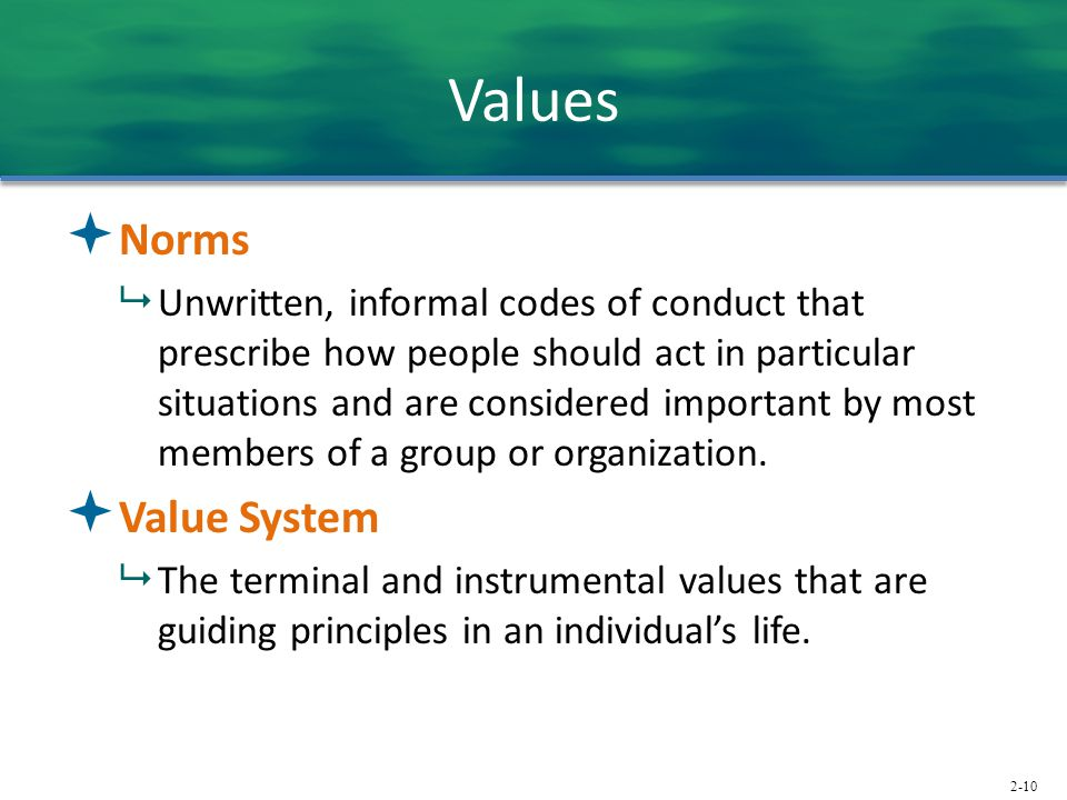 2-10 Values  Norms  Unwritten, informal codes of conduct that prescribe how people should act in particular situations and are considered important by most members of a group or organization.