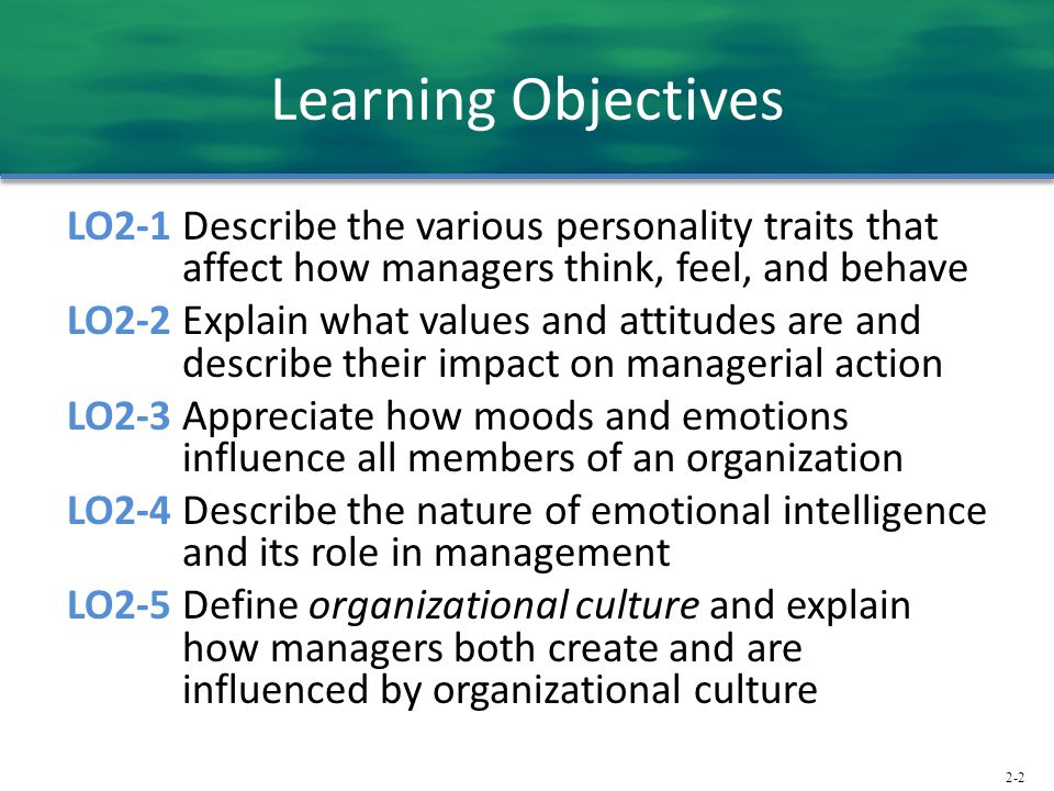 2-2 Learning Objectives LO2-1 Describe the various personality traits that affect how managers think, feel, and behave LO2-2 Explain what values and attitudes are and describe their impact on managerial action LO2-3 Appreciate how moods and emotions influence all members of an organization LO2-4 Describe the nature of emotional intelligence and its role in management LO2-5 Define organizational culture and explain how managers both create and are influenced by organizational culture