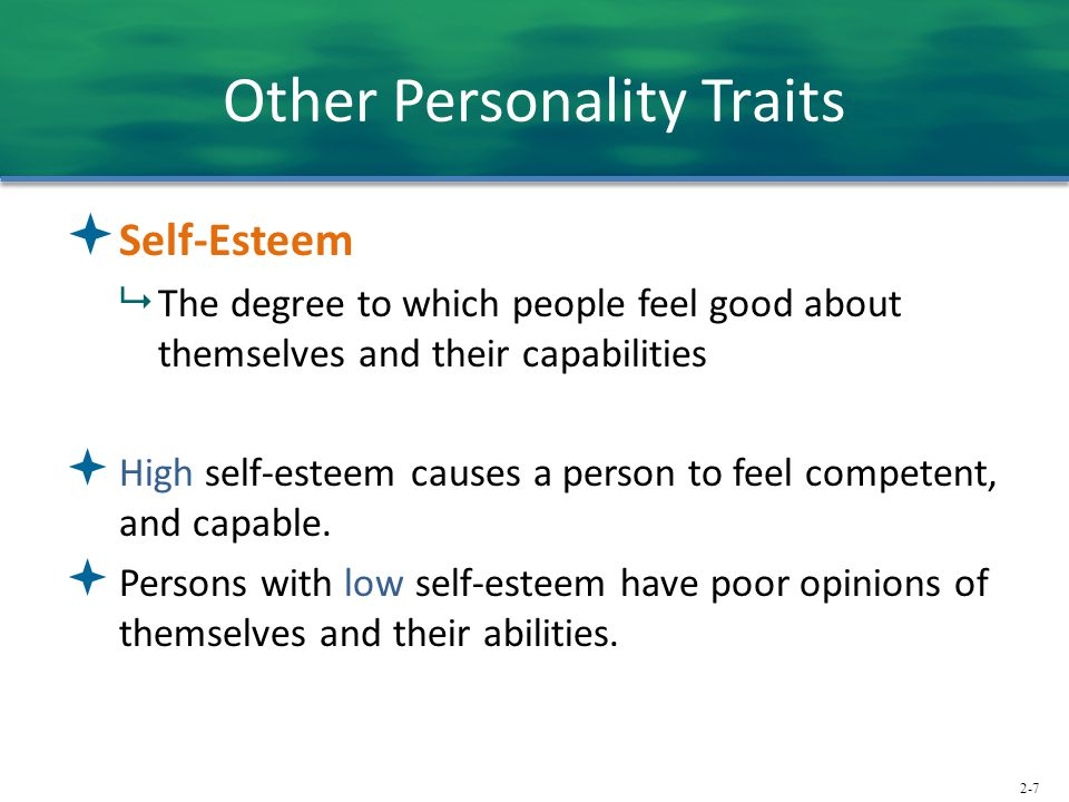 2-7 Other Personality Traits  Self-Esteem  The degree to which people feel good about themselves and their capabilities  High self-esteem causes a person to feel competent, and capable.