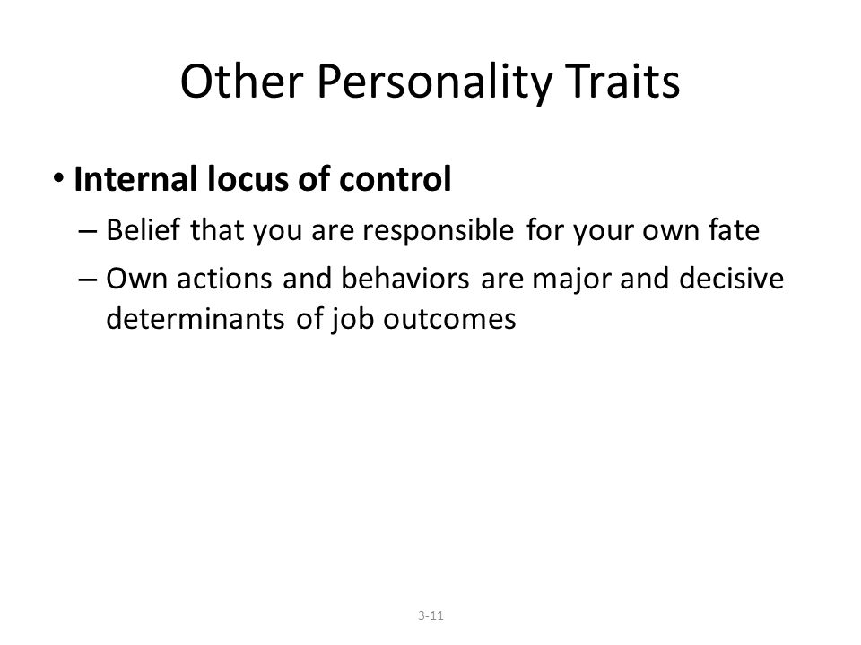 Other Personality Traits Internal locus of control – Belief that you are responsible for your own fate – Own actions and behaviors are major and decisive determinants of job outcomes 3-11