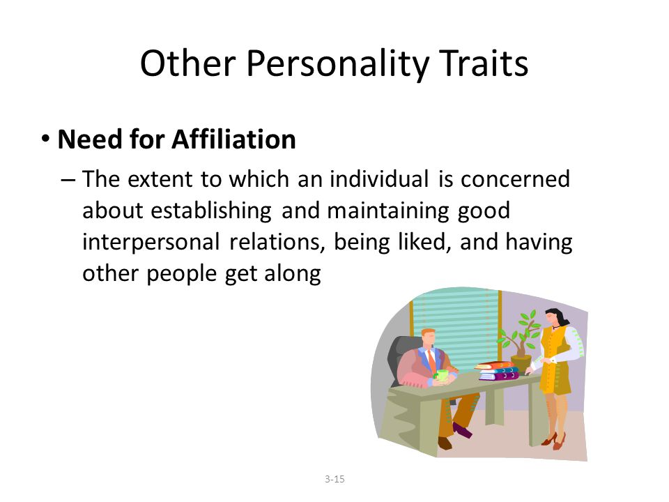 Other Personality Traits Need for Affiliation – The extent to which an individual is concerned about establishing and maintaining good interpersonal relations, being liked, and having other people get along 3-15