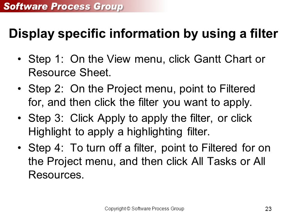 Copyright © Software Process Group 23 Display specific information by using a filter Step 1: On the View menu, click Gantt Chart or Resource Sheet.