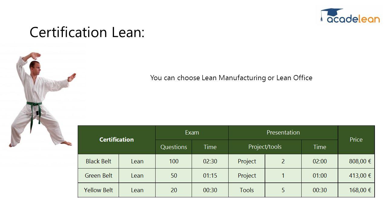 Lean six sigma certification lean manufacturing lean black belt 6 certification lean you can choose lean manufacturing or lean office xflitez Gallery