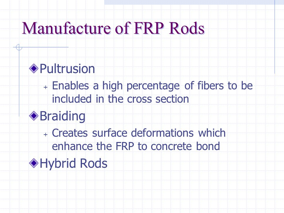Materials Used in FRP Fiber Types + Glass + Poly-Vinyl Alcohol (PVA) + Carbon + Aramid (Kevlar) Resin Types + Epoxy + Polyester è Resins are thermosetting