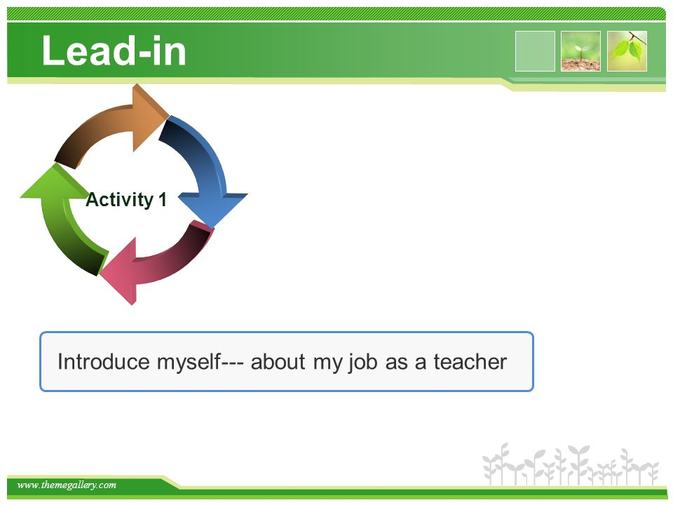 Lead-in Introduce myself--- about my job as a teacher Activity 1