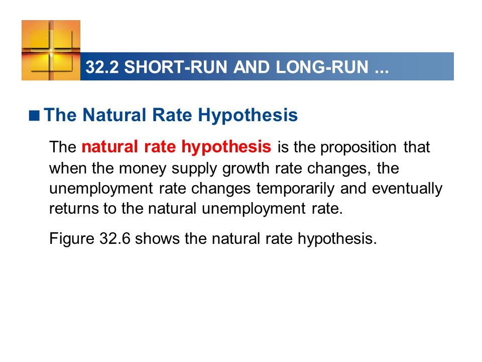  The Natural Rate Hypothesis The natural rate hypothesis is the proposition that when the money supply growth rate changes, the unemployment rate changes temporarily and eventually returns to the natural unemployment rate.