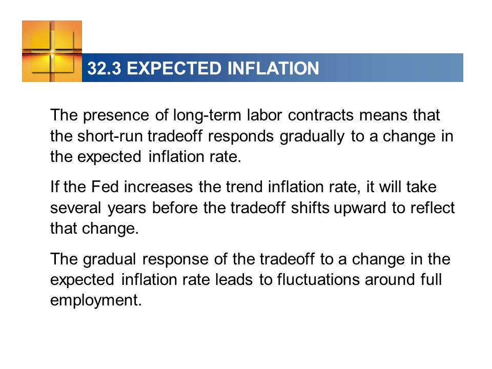 32.3 EXPECTED INFLATION The presence of long-term labor contracts means that the short-run tradeoff responds gradually to a change in the expected inflation rate.