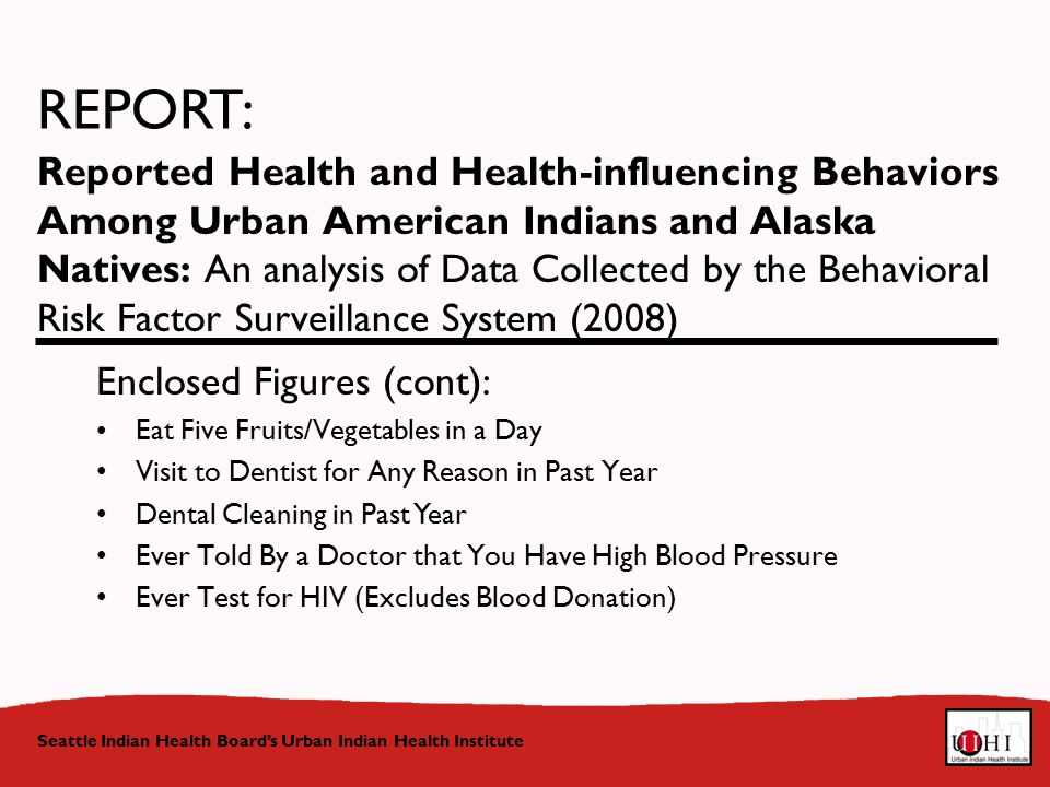 Reported Health and Health-influencing Behaviors Among Urban American Indians and Alaska Natives: An analysis of Data Collected by the Behavioral Risk Factor Surveillance System (2008) Seattle Indian Health Board's Urban Indian Health Institute REPORT: Enclosed Figures (cont): Eat Five Fruits/Vegetables in a Day Visit to Dentist for Any Reason in Past Year Dental Cleaning in Past Year Ever Told By a Doctor that You Have High Blood Pressure Ever Test for HIV (Excludes Blood Donation)