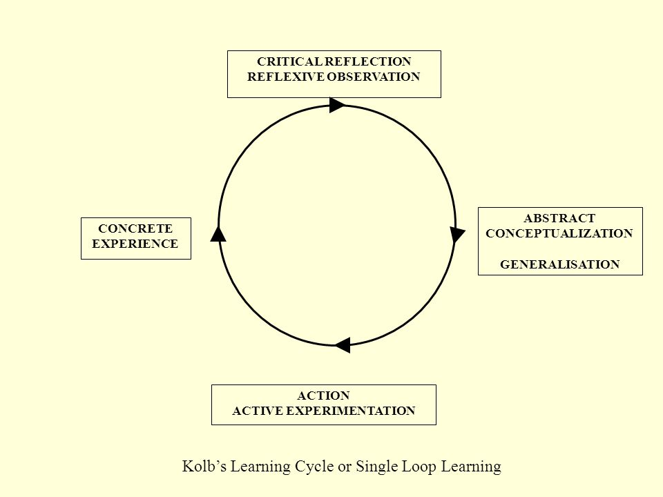 ABSTRACT CONCEPTUALIZATION GENERALISATION ACTION ACTIVE EXPERIMENTATION CONCRETE EXPERIENCE CRITICAL REFLECTION REFLEXIVE OBSERVATION Kolb's Learning Cycle or Single Loop Learning