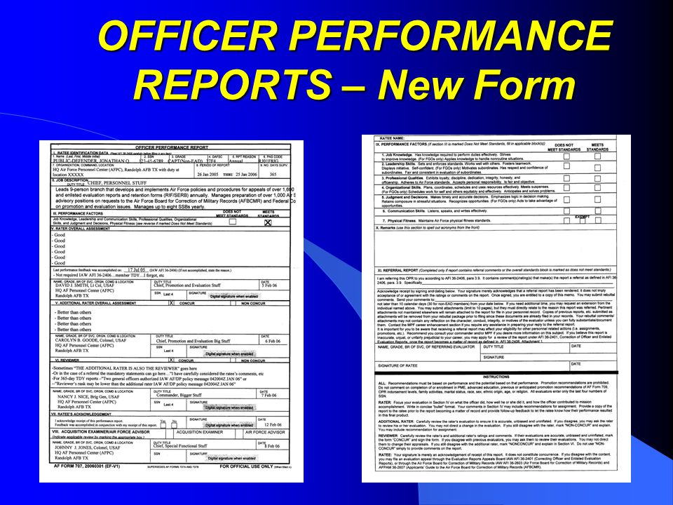 OFFICER PERFORMANCE REPORTS YOU ON A PIECE OF PAPER ...