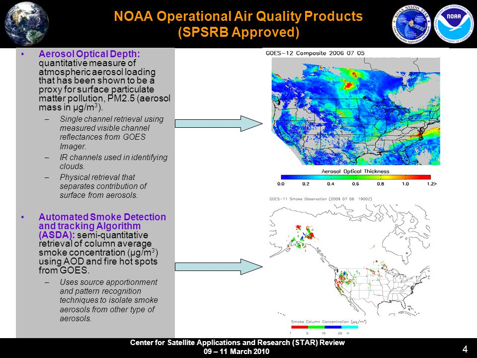 Center for Satellite Applications and Research (STAR) Review 09 – 11 March NOAA Operational Air Quality Products (SPSRB Approved) Aerosol Optical Depth: quantitative measure of atmospheric aerosol loading that has been shown to be a proxy for surface particulate matter pollution, PM2.5 (aerosol mass in µg/m 3 ).