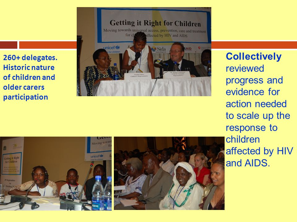 Collectively reviewed progress and evidence for action needed to scale up the response to children affected by HIV and AIDS.